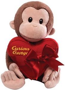 Curious George Gund Holding Heart Animal