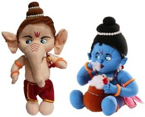 Cally Soft Toys Ganesh Ji & Krishna Ji  - 35 cm