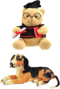 VRV Soft Musical Scholar Teddy Bear and Dog 32cm  - 20 cm