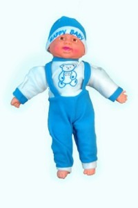 Cuddles Collections Musical Happy Baby Boy Laughing 45 Blue  - 45 cm