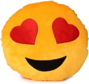 Deals India Yellow Heart Eyes Smiley Cushion  - 35 cm