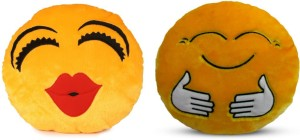 Deals India Deals India Kiss Smiley and Hugging smiley Cushion - 35 cm(smiley3&E)Set of 2  - 35 cm