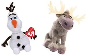 Ty Disney Frozen Sparkle Olaf And Sven Standard Sized Beanie