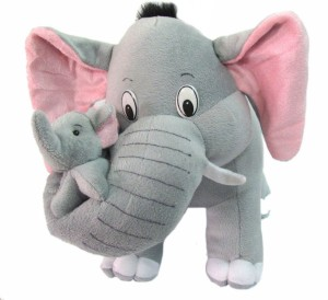 Creative India Exports Mother Elephant With Baby Stuffed Soft Plush Toy  - 30 cm