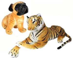 VRV Soft Toy Tiger and Pug  - 35 cm
