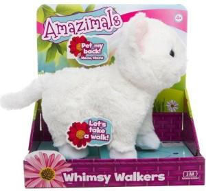 Amazimals Whimsy Walkers Plush White Kitty Cat Kitten With Sound