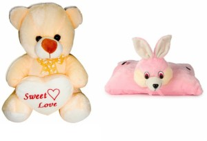 Deals India Deals India George Teddy Bear - 30 cm And folding Bunny Pillow  - 30 cm