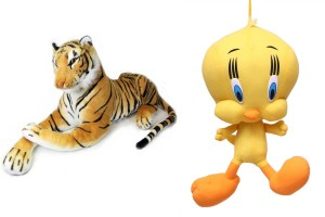 MGPLifestyle Multicolour Combo Of Tiger Soft Toy And Tweety  - 10 cm