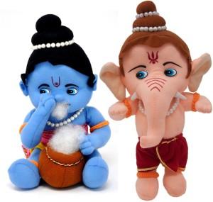 Fun Zoo Lord Krishna & Ganesha Hindu Idol Combo Fun Zoo Soft Plush Toy  - 35 cm