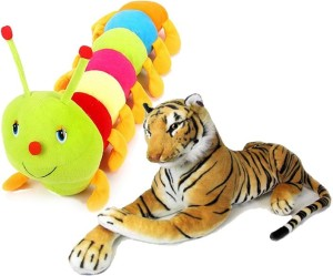 MGPLifestyle Stuffed Tiger(32 Cm) And Colourful Caterpillar (55 Cm)Combo  - 9 cm