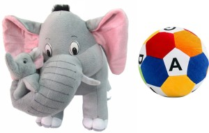 MGPLifestyle Multicolor Combo of Mother Elephant & ABCD Ball  - 10 cm