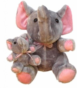 Tickles Mother Elephant with Baby  - 10 inch