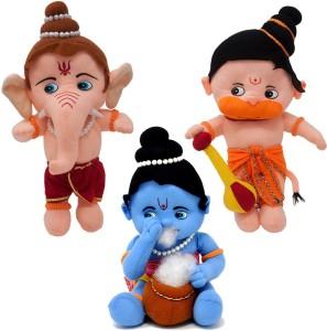 Fun Zoo Lord Ganesha, Krishna & Hanuman Hindu Idol Combo Fun Zoo Soft Plush Toy  - 30 cm