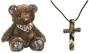Camo Chique Boutique Mossy Oak Cross Necklace + Teddy Bear Plush 2Pc Womens