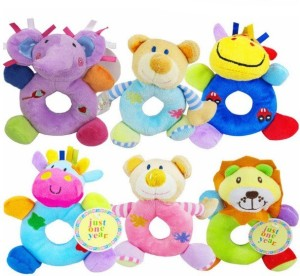 Kuhu Creations Carters Animal Shaped Catoon Hand Bell Ring Rattles Toy For Babies.  - 10 cm