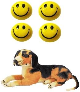 VRV Soft Smiley Face Balls and Dog Stuffed Animal 32cm  - 18 cm