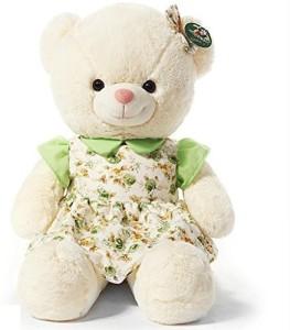 Kaylee & Ryan 276 White Teddy Bear Plush In Floral And Light Green Skirt