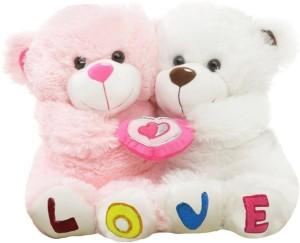 Tabby Beautiful Couple Teddy With Heart  - 35 cm