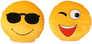 Deals India Deals India Soft COOL Dude Smiley and Wink Smiley Cushion - 35 cm(smiley2&4) Set of 2  - 35 cm