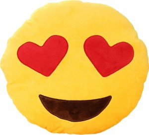 Grab A Deal Smiley Love Emoticon Cushion with Heart Eyes  - 12 inch