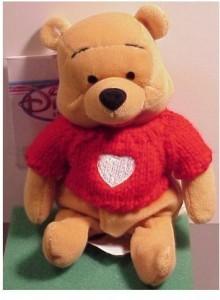 Disney Winnie The Pooh Bean Bag Plush Pooh Heart Sweater