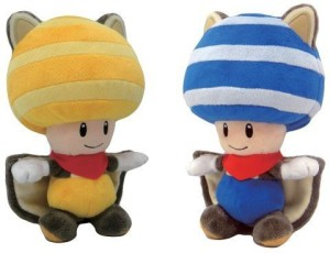 Little Leaf Buddy Mario Plush Doll Set of 2 - Flying Squirrel Blue Toad & Yellow Toad  - 36 inch