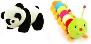 Tabby Toys Tabby Toys Cute Catterpiller-55 cm & Panda Soft Toy-28cm Combo  - 55 cm