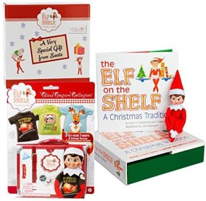 The Elf on the Shelf Blue Eyed Girl with Official 3pc T-Shirt Outfit Collection - Direct From North Pole in Limited Edition Santa Gift Box  - 20 inch