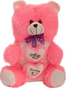 Kashish Trading Company KTC Pink Fur Heart Teddy Bear  - 14 inch
