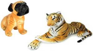 Alexus Brown Tiger And Pug Dog  - 32 cm