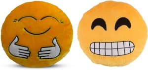 Deals India Deals India Yellow Hugging and Grinning Face With Smiling Eyes Smiley Cushion - 35 cm(SmileyE&G)(Set of 2)  - 35 cm