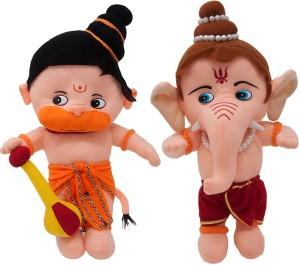 Fun Zoo Lord Hanuman & Ganesha Hindu Idol Combo Fun Zoo Soft Plush Toy  - 35 cm