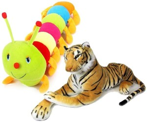 Deals India Stuffed tiger and Caterpillar combo  - 10 cm