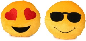 Deals India Deals India Heart Eyes Smiley and cool dude smiley Cushion - 35 cm(smiley1&2)Set of 2  - 35 cm