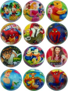 Lolprint Cartoon Characters Soft Ball - Pack of 12  - 4 inch
