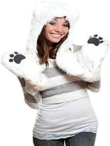 Animal Hats Polar Bear Full Animal Hoodie Faux Fur Hat 3In1 Function