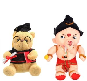 VRV Soft Musical Scholar Teddy Bear and Lord Ganesha 25cm  - 20 cm