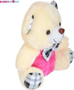 Babies Bloom Pretty Cream Plush Teddy Bear With Check Bow  - 20 cm