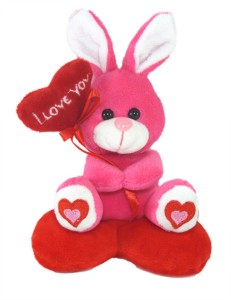 Tickles Cute Rabbit With I Love You Heart Balloon  - 14 cm