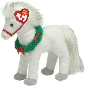 Ty Sleighride White Horse With Wreath