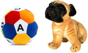 MGPLifestyle Combo of Pug Dog Soft Toy (32cm) & ABCD Ball  - 10 cm