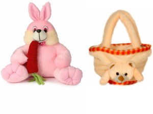 Deals India Deals India Bunny With Carrot - 35 cm and Teddy bag  - 35 cm