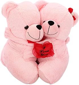 DealBindaas Teddy Pair w/Heart Pink Valentine Soft Toy  - 35 cm