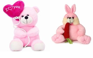 Deals India Deals India I Love You Balloon Heart Teddy Pink 30 cm and Bunny with carrot(30 cm) combo  - 20 cm