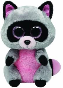 TY Beanie Babies Rocco Grey Raccoon Medium Plush