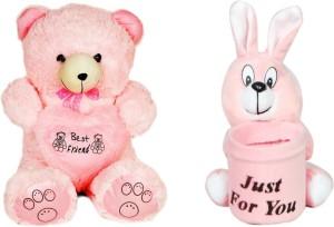 Gungun Toys Jumbo Teddy Bear & Pink Rabbit Pen Stand  - 30 inch
