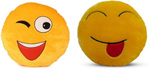 Deals India Deals India Soft WINK Smiley and Tougue out Smiley Cushion - 35 cm(smiley4&C)Set of 2  - 35 cm