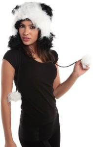 CHIC&COZY Fur Panda Fur Animal Hats Hoods Fur Panda With Poms