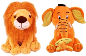 Tabby Toys King Lion and Elephant Playing With Banana Stuff Toy Combo  - 35 cm