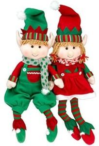 SCS Direct Elf Plush Christmas Stuffed Toys- 12